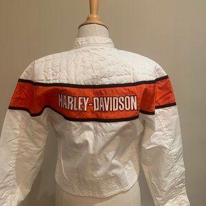Harley-Davidson White & Orange bomber jacket